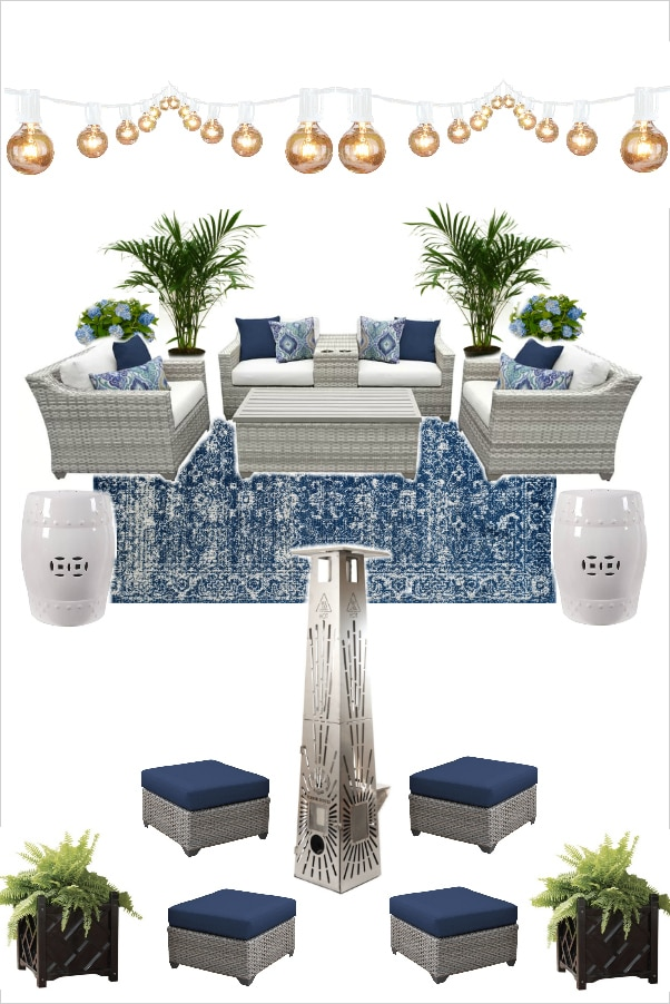 Blue and white outdoor patio design with patio furniture, timber heater, rug, plants.