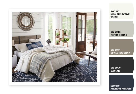 Blue and white lake house bedroom paint color ideas and color scheme