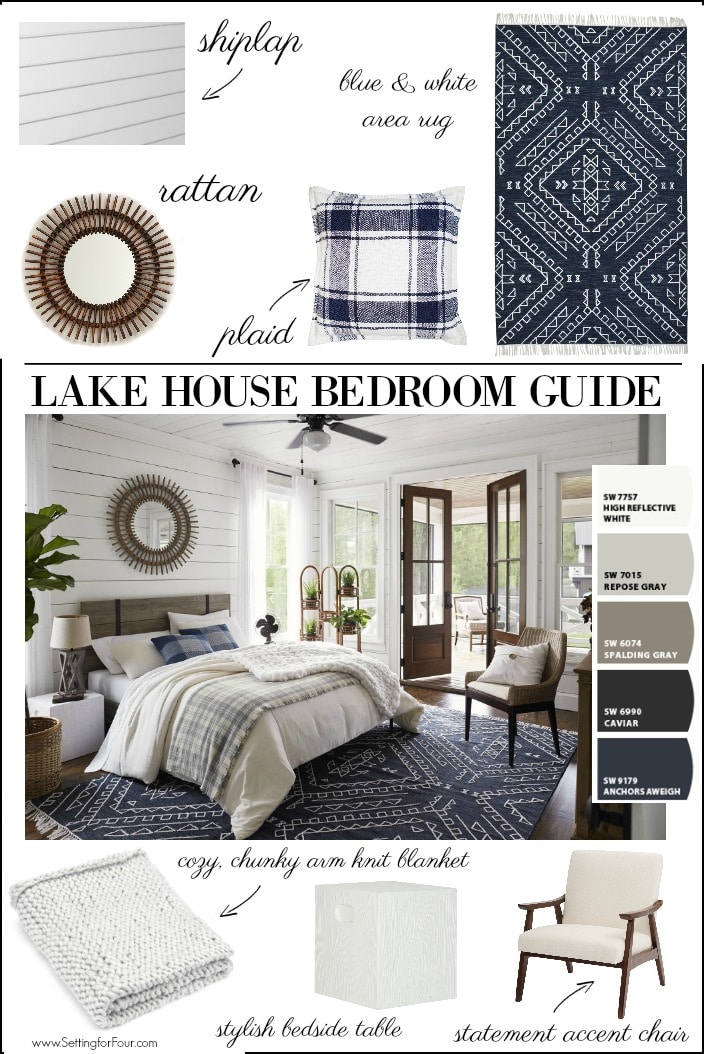 Lake House Bedroom Guide on paint colors, furniture and decor.