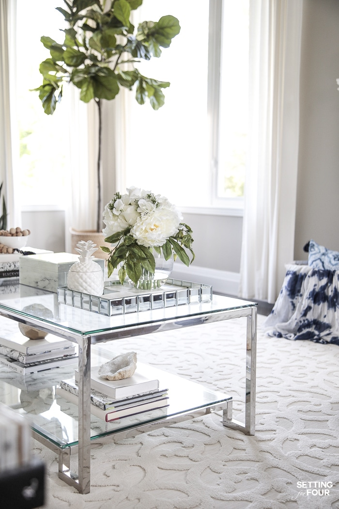 Easy winter decorating ideas for the coffee table.