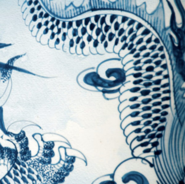 Chinese porcelain blue and white pottery pattern.