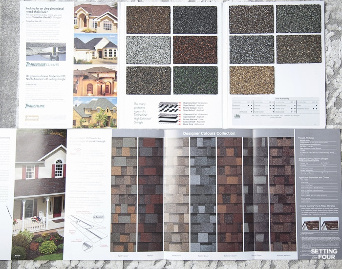 Shingle brochures we received from roofing companies showing roof shingle colors.