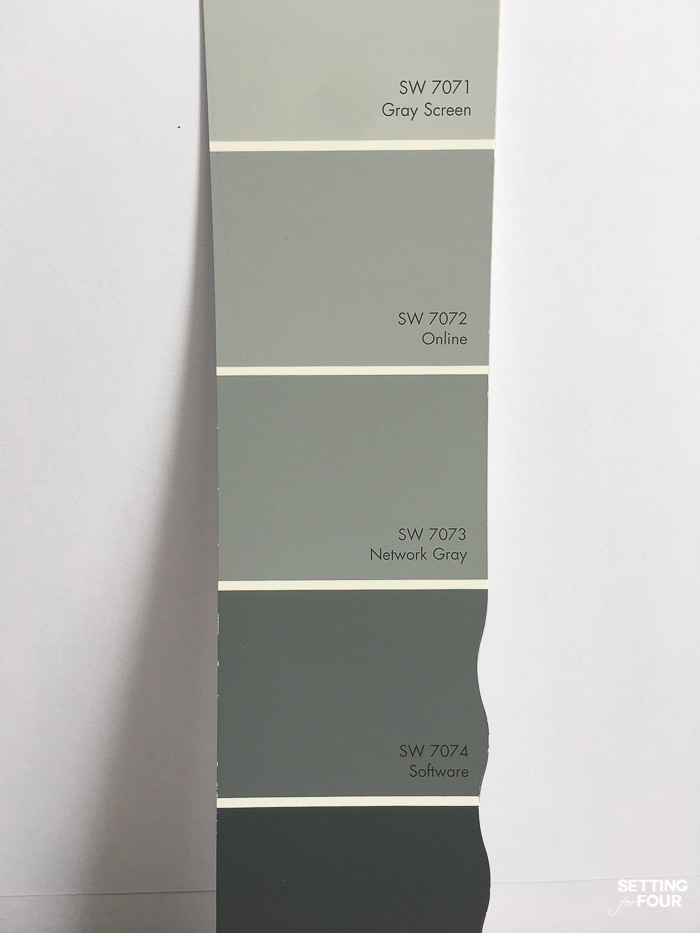 Sherwin Williams blue gray paint colors on a white background.