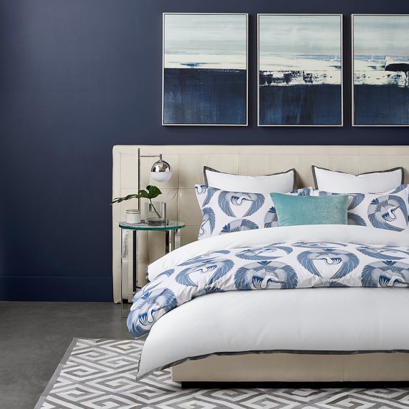 Bedroom blue wall color to show how to pick a whole home color palette.