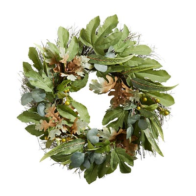 Fall wreath with eucalyptus, fig and oak leaves