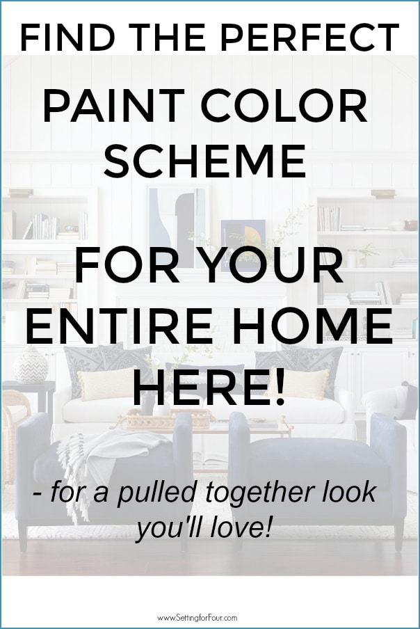 Graphic to show how to pick the perfect whole home color scheme 5 ways.