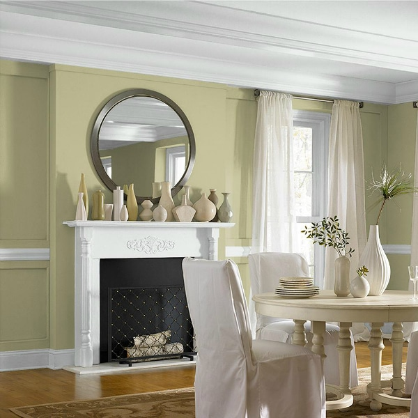 Back to Nature by Behr paint color in a dining room - Color of the Year 2020