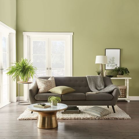 Behr Back to Nature paint color in a living room.