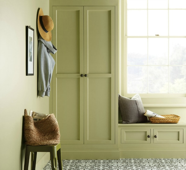 See this beautiful built in cabinetry painted Back To Nature by Behr. Color of the Year 2020.
