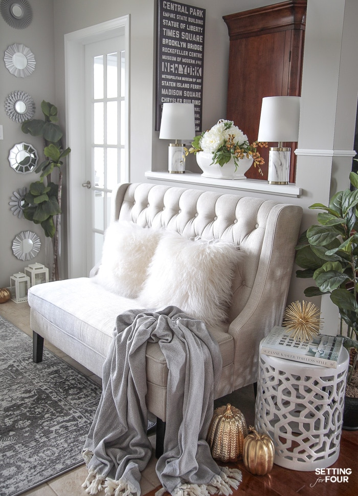 4 Fall Entry way Decor Ideas: Simple Ways To Welcome Autumn Into Your Home. I LOVE this bench in this elegant entrance!