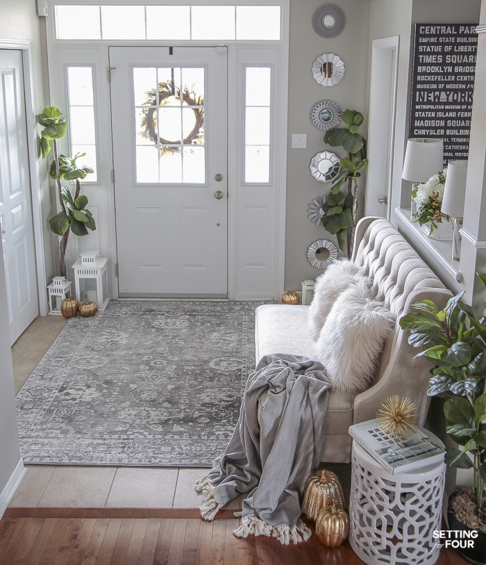 4 Fall Entryway Decorations: Simple Ways To Welcome Autumn Into Your Home. I LOVE these mirrors in this elegant fall decorated entrance!
