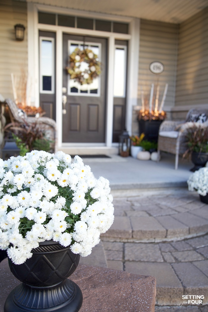 White mums decorate a porch for fall.