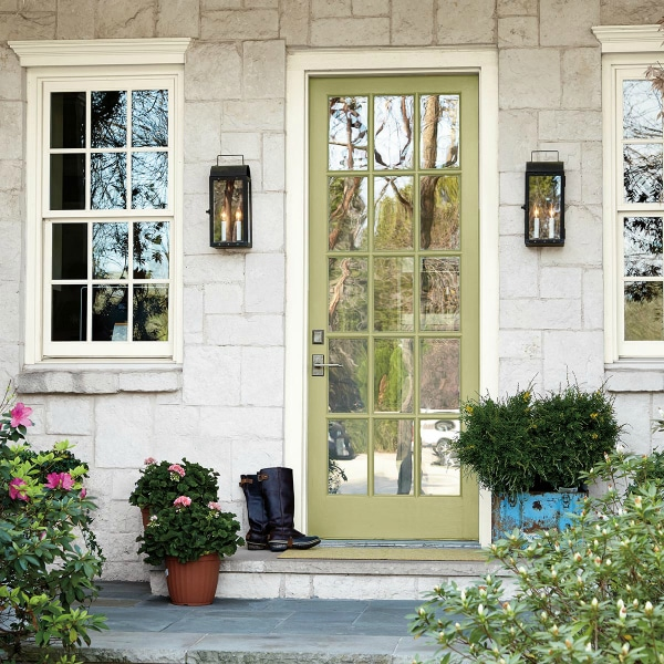 See this beautiful green front door painted Back To Nature by Behr. Color of the Year 2020.