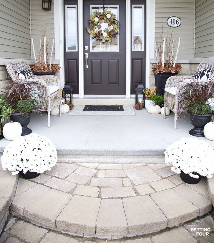 Porch With Impact to Celebrate Autumn with Tall Planters