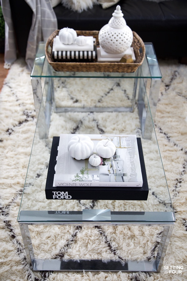 Learn how to decorate a family room coffee table for fall - 5 ways!