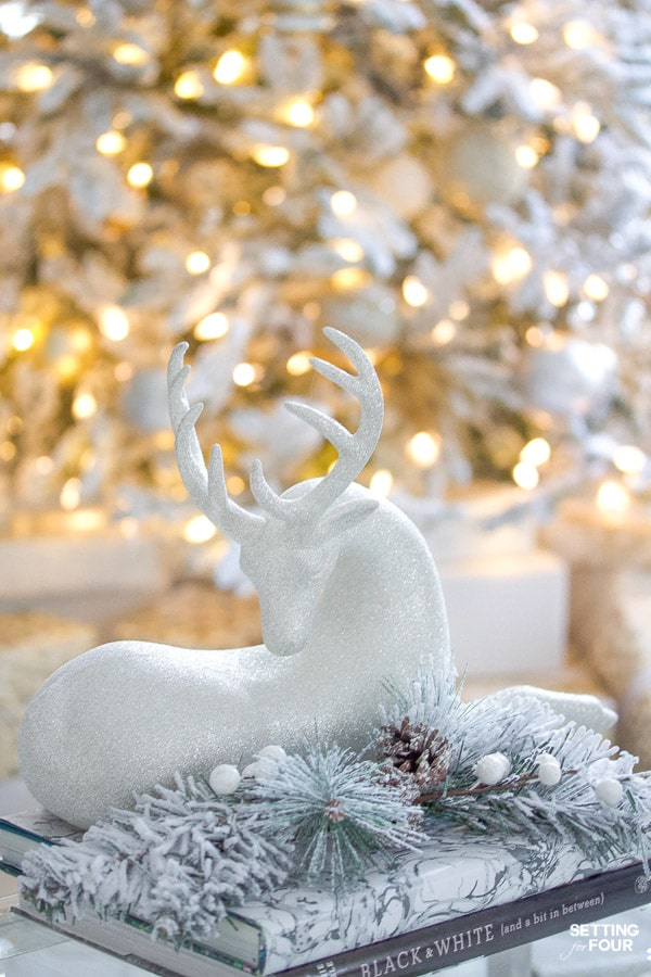 Christmas reindeer decor idea to decorate a coffee table in a living room.