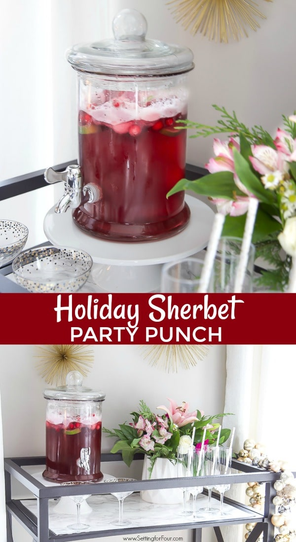 Holiday Sherbet punch recipe in a glass drink dispenser for a party.