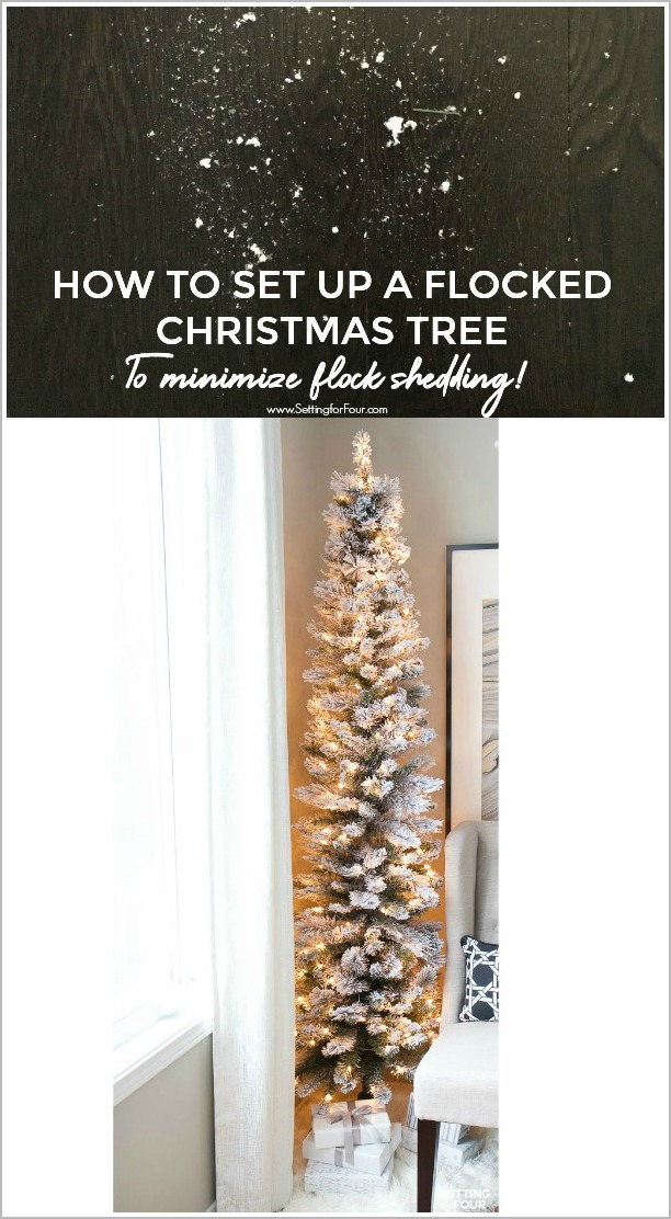 Christmas hack! How to set up a flocked Christmas tree and minimize flock shedding!