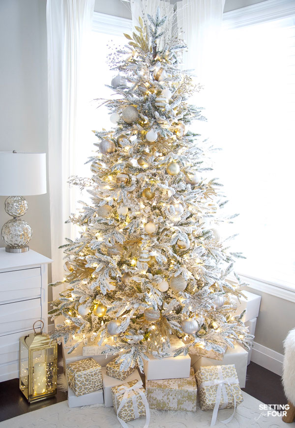 Gold and White Flocked Christmas tree.