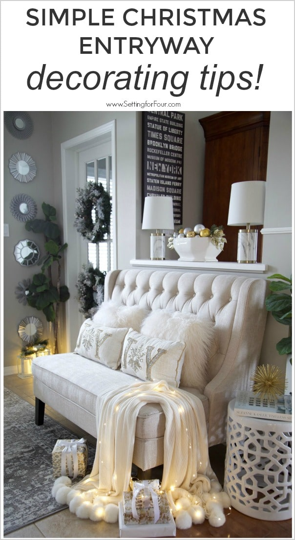 See these simple Xmas entryway decorating Interior design tips! Welcoming Christmas entryway decor ideas.