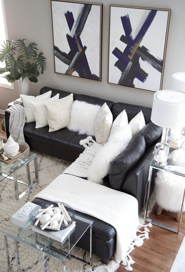 Contemporary Wall Art Hung Above Sectional Sofa