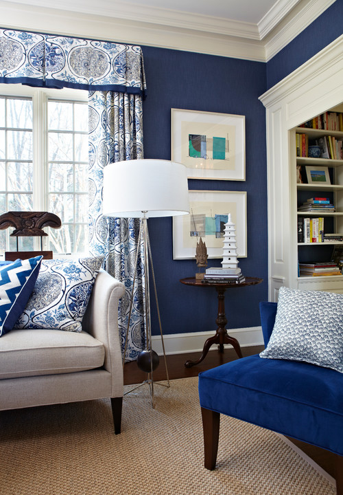 Pantone Color Of The Year 2020 Classic Blue in a living room.