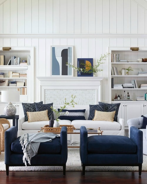 Pantone Color Of The Year 2020 Classic Blue in a living room