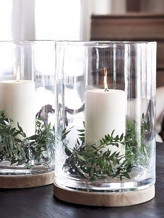 Simple elegant candle centerpiece decor for winter