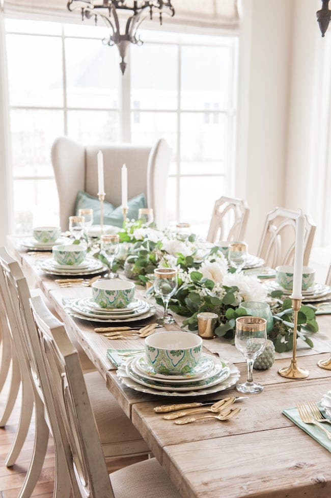 St Patricks Day Table Decor Idea with floral runner.