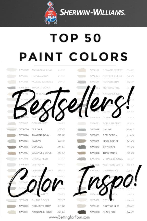 Top 50 Bestselling Paint Colors At Sherwin Williams Setting For Four