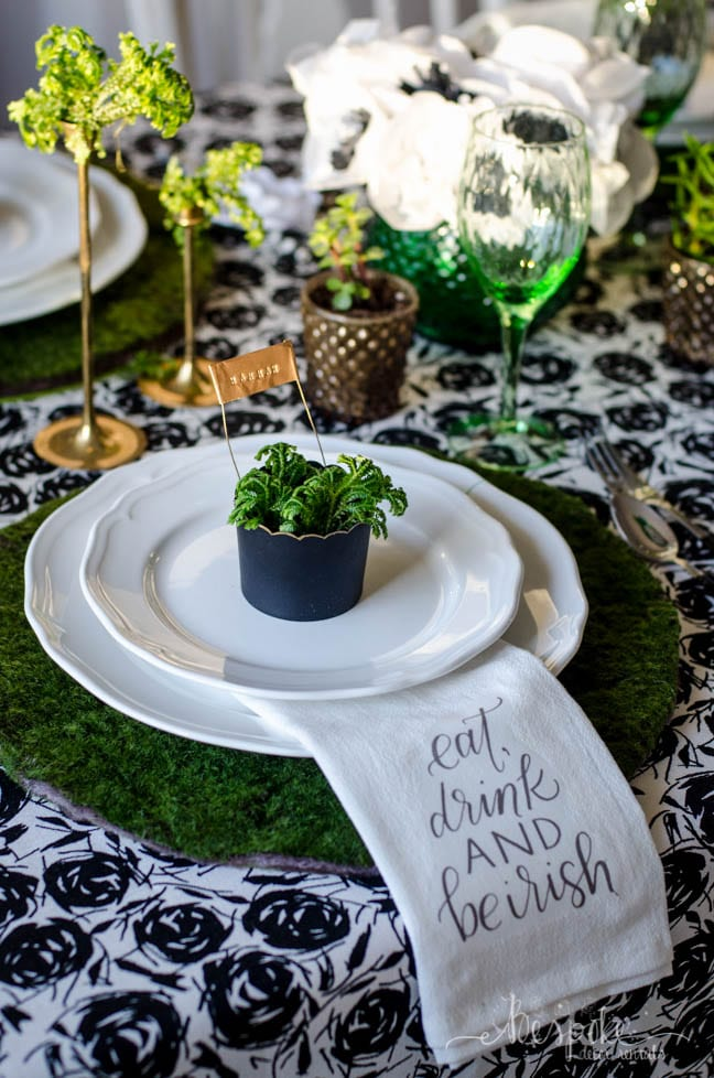 DIY moss placemats and frosty fern centerpiece for St. Patrick's Day