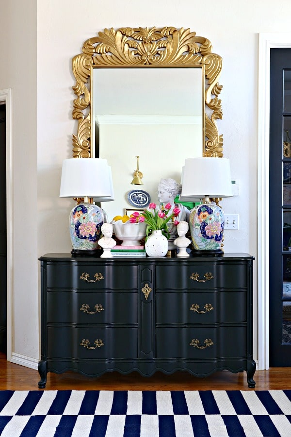 A beautiful DIY furniture project - dresser painted Tricorn Black Sherwin Williams. It's one of the most popular TOP 50 paint colors at Sherwin Williams.