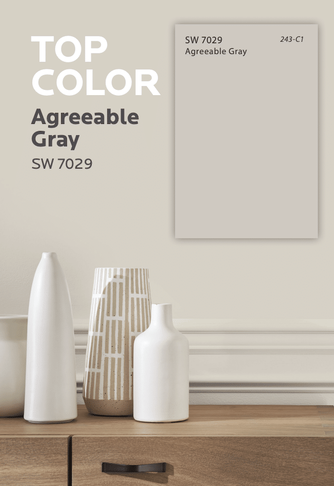 The Most Popular Bestselling Paint Color at Sherwin Williams is Agreeable Gray.