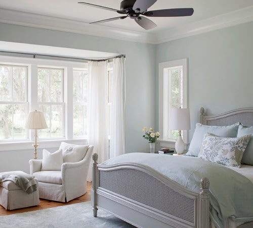 Bedroom painted Sherwin Williams Sea Salt. It's one of the most popular TOP 50 paint colors at Sherwin Williams.