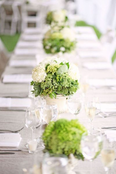 Mini bouquets of white and green hydrangeas mixed with green leafed plants are stunning on a simple white tablecloth.