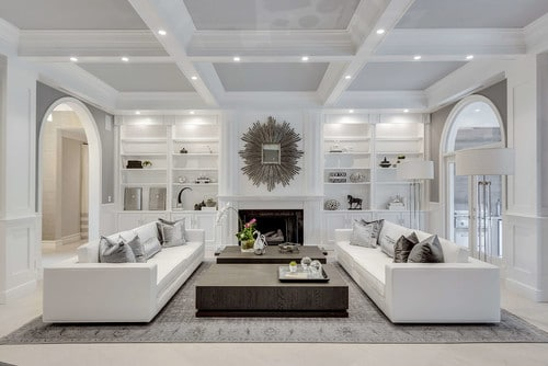 Two sofas arranged in an open concept living room.