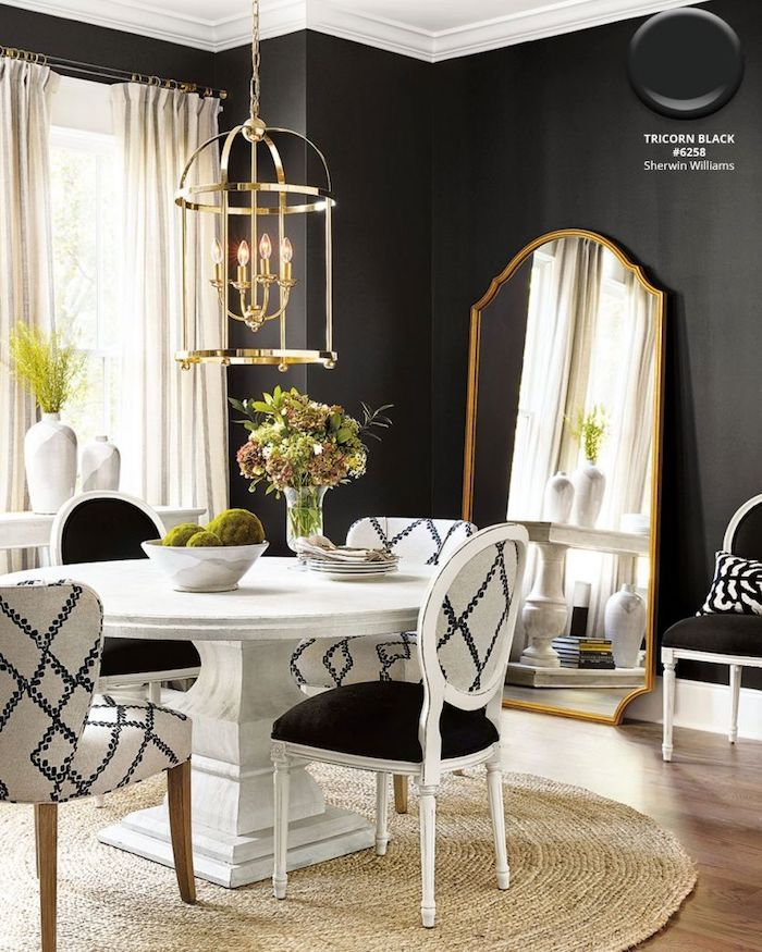 Sherwin Williams Tricorn Black dining room. It's one of the most popular TOP 50 paint colors at Sherwin Williams!