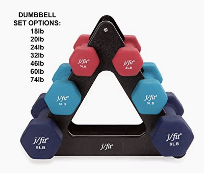 Affordable Home Gym Must Haves - Set of Neoprene Coated Workout Weights With Rack