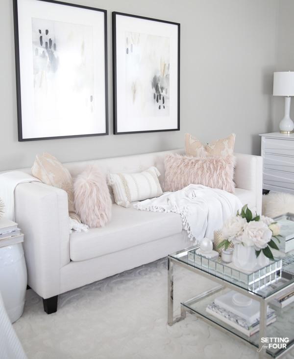 Elegant spring living room pink color palette!