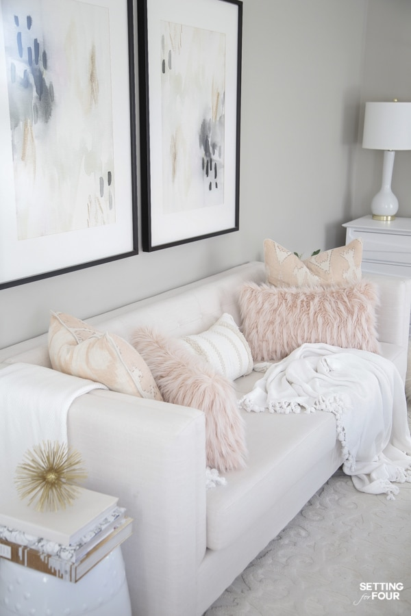 Spring accent pillows and living room decor.