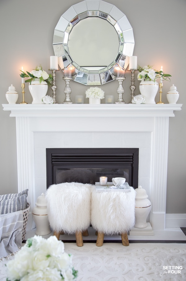 fireplace mantel decor for summer with hearth decor, ginger jars, mirror and candles.