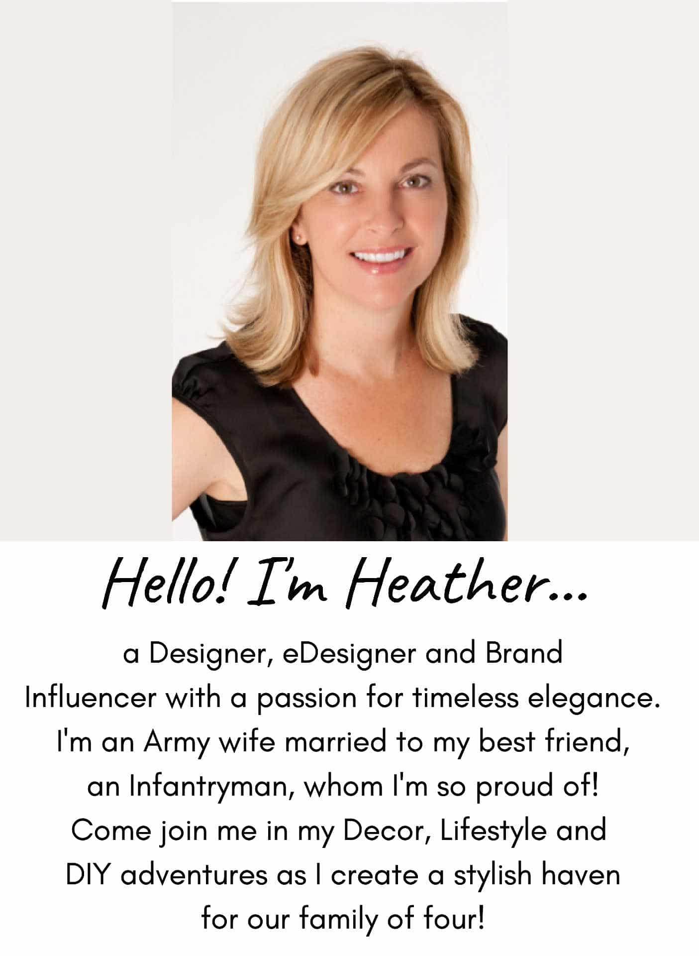 Hello! I'm Heather - Designer and Influencer at SettingforFour.com! Join me in my DIY, Design and Lifestyle Adventures!