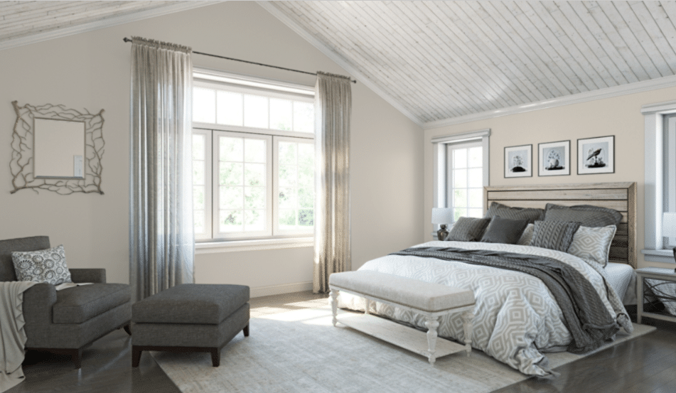 SW Agreeable Gray beautiful bedroom paint color.